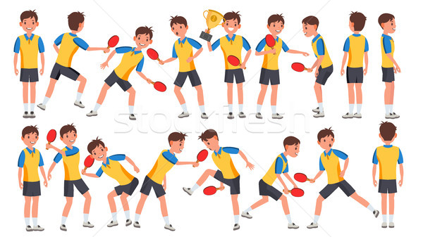 Table Tennis Man Player Male Vector. Receives The Ball. Stylized Player. Cartoon Athlete Character I Stock photo © pikepicture