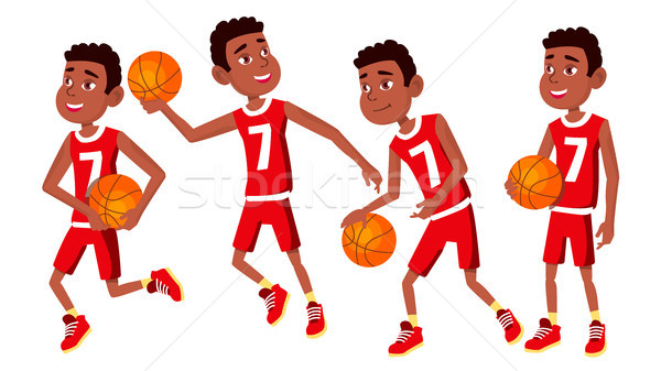 Basketball Player Child Set Vector. Various Poses. Athlete In Uniform With Ball. Sport Game Competit Stock photo © pikepicture