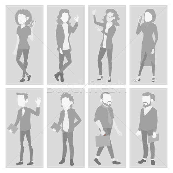 Placeholder Avatar Set Vector. Profile Gray Picture. Full Length Portrait. Man, Woman Face Photo. Bu Stock photo © pikepicture
