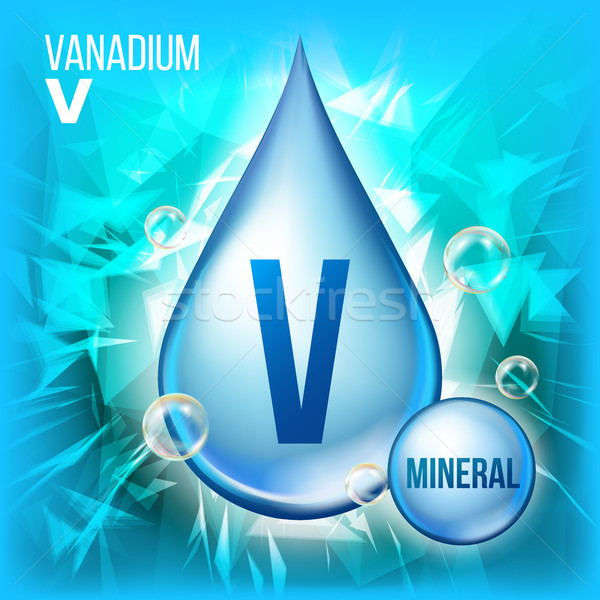 V Vanadium Vector. Mineral Blue Drop Icon. Vitamin Liquid Droplet Icon. Substance For Beauty, Cosmet Stock photo © pikepicture