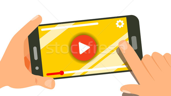 Watching Video On Smartphone Vector. Human Hands With Gadget. Menu Panel. Music, Movie. Finger Touch Stock photo © pikepicture