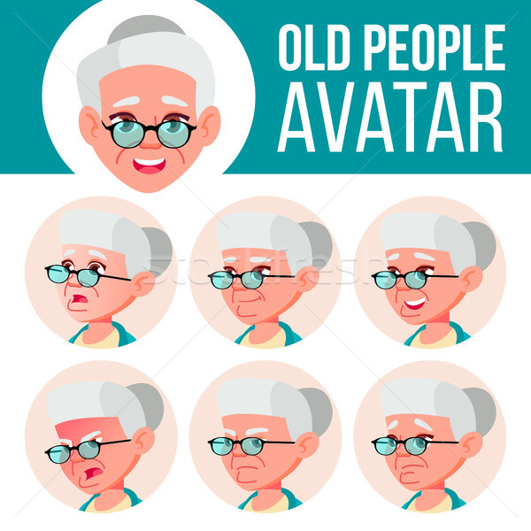 Old Woman Avatar Set Vector. Face Emotions. Senior Person Portrait. Elderly People. Aged. Facial, Pe Stock photo © pikepicture