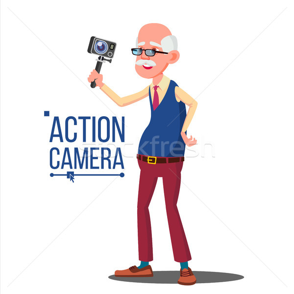 Old Man With Action Camera Vector. Self Video, Portrait. Shooting Process. Recording Video. Isolated Stock photo © pikepicture