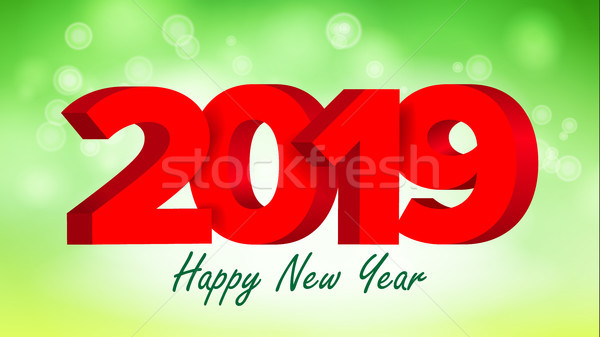 2019 Red Sign Vector. Sign 3d Numbers 2019. Greeting Card Design. Red. Happy New Year Background Ill Stock photo © pikepicture