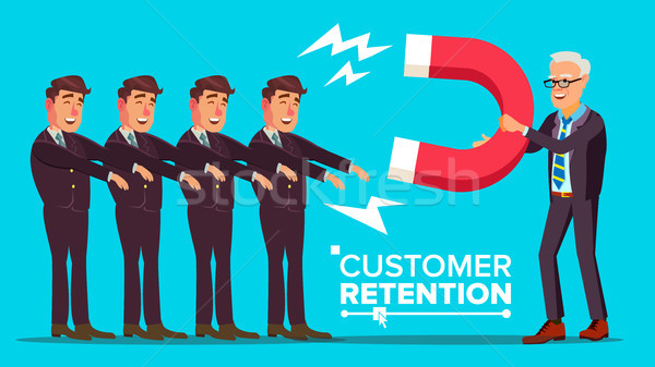 Customer Retention Vector. Businessman With Giant Magnet Attracts Client Man. Success Strategy, Cust Stock photo © pikepicture
