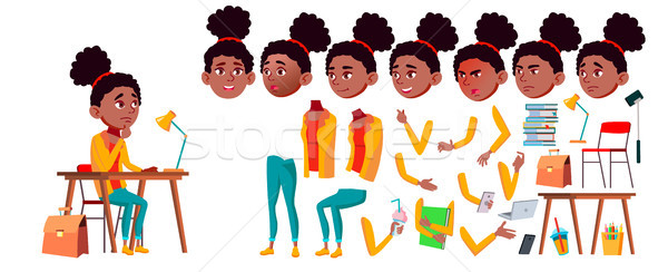 Teen Girl Vector. Animation Creation Set. Black. Afro American. Face Emotions, Gestures. Positive Pe Stock photo © pikepicture