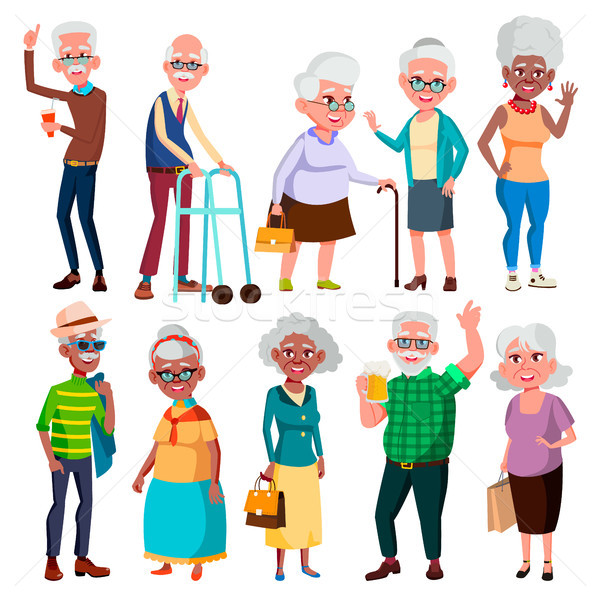 Elderly People Vector. Grandfather And Grandmother. Face Emotions. Happy People. Poses. Black, Afro  Stock photo © pikepicture