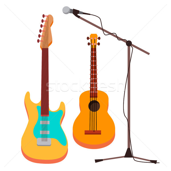 Guitar Vector. Electric, Classic. Microphone With Stand. String Musical Instrument. Isolated Cartoon Stock photo © pikepicture