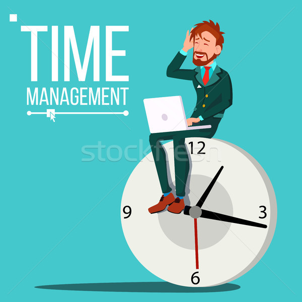 Time Management Man Vector. Huge Clock, Watch. Control. Procrastination. Business Illustration Stock photo © pikepicture