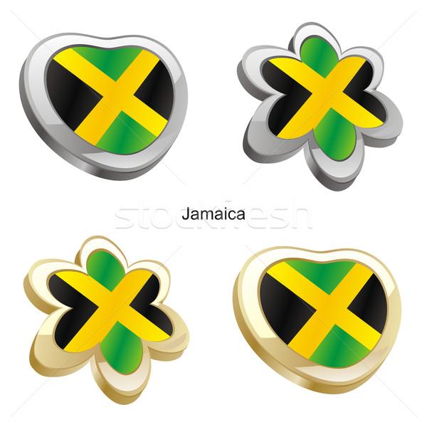 jamaica flag in heart and flower shape Stock photo © PilgrimArtworks