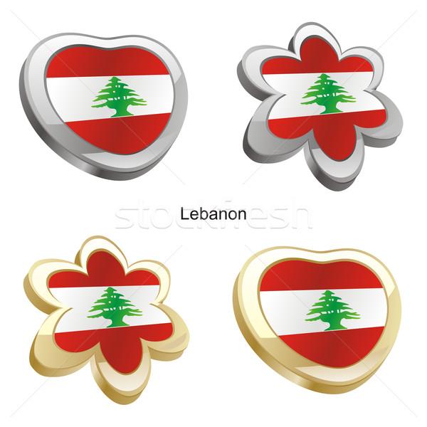 Libanon zászló szív virág forma szerkeszthető Stock fotó © PilgrimArtworks