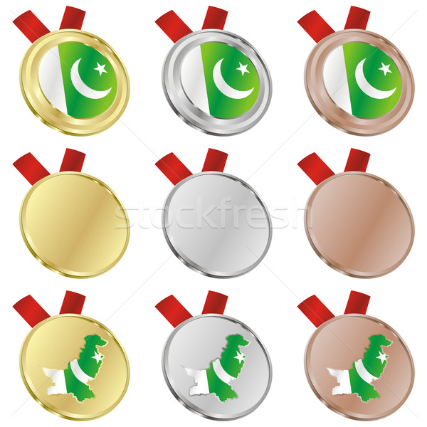 Pakistan vektör bayrak madalya düzenlenebilir Stok fotoğraf © PilgrimArtworks