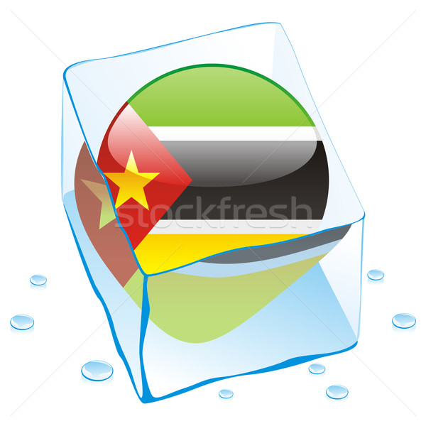 mozambique button flag frozen in ice cube Stock photo © PilgrimArtworks