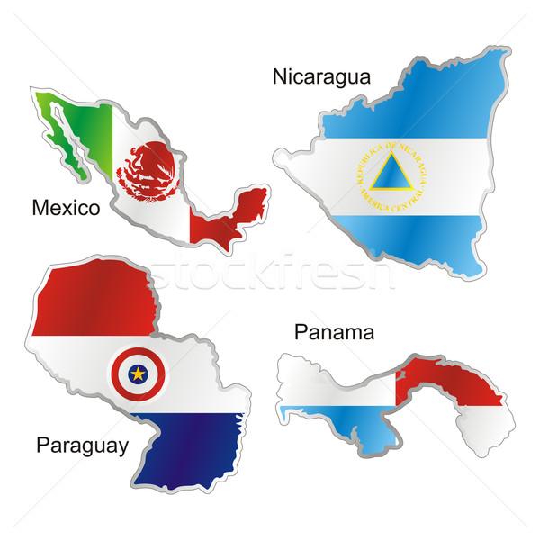 Amerikai zászlók térkép forma izolált zászló Stock fotó © PilgrimArtworks