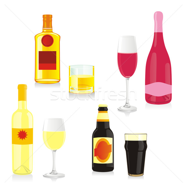 Aislado alcohol botellas gafas playa Foto stock © PilgrimArtworks