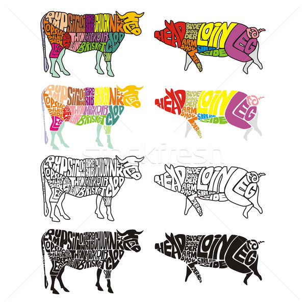 isolated cow and pig Stock photo © PilgrimArtworks
