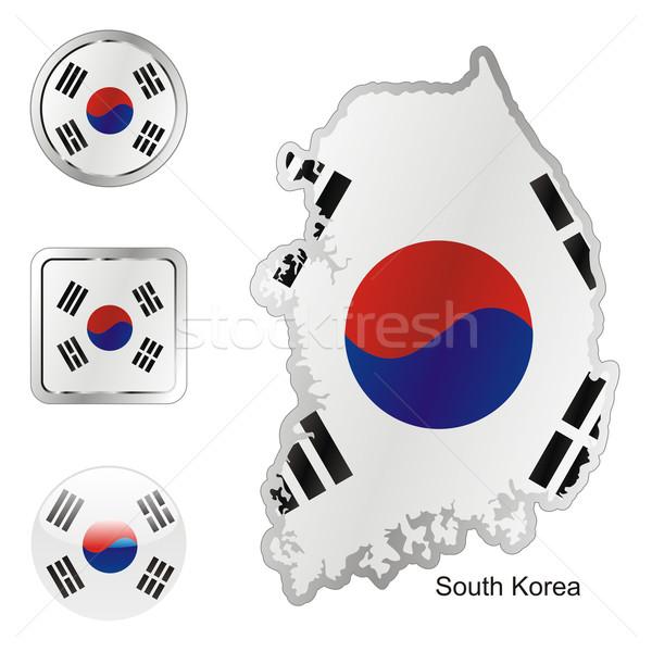 Южная Корея карта Интернет Кнопки форма флаг Сток-фото © PilgrimArtworks