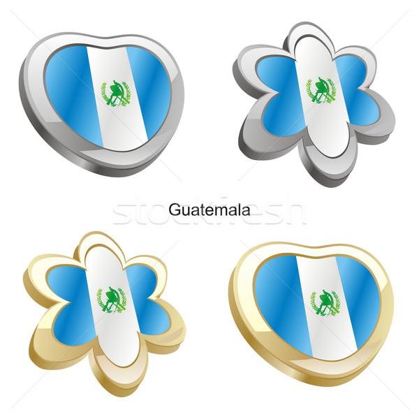 Guatemala zászló szív virág forma szerkeszthető Stock fotó © PilgrimArtworks