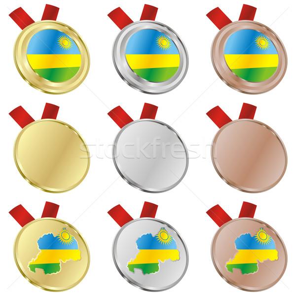 rwanda vector flag in medal shapes Stock photo © PilgrimArtworks