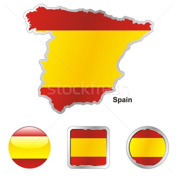 Spanje kaart web knoppen Stockfoto © PilgrimArtworks