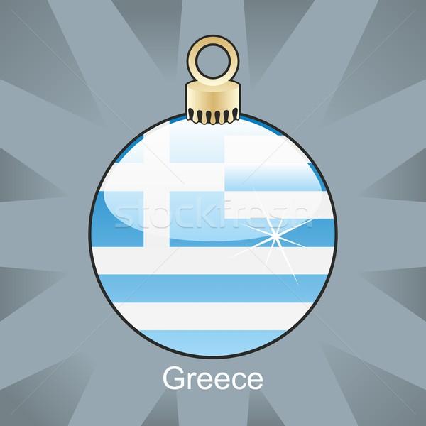 Stockfoto: Geïsoleerd · Griekenland · vlag · christmas · lamp · vorm