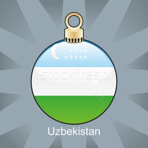 Izolált Üzbegisztán zászló karácsony villanykörte forma Stock fotó © PilgrimArtworks