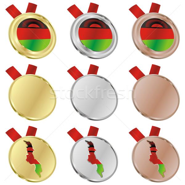 Malawi vector vlag medaille Stockfoto © PilgrimArtworks