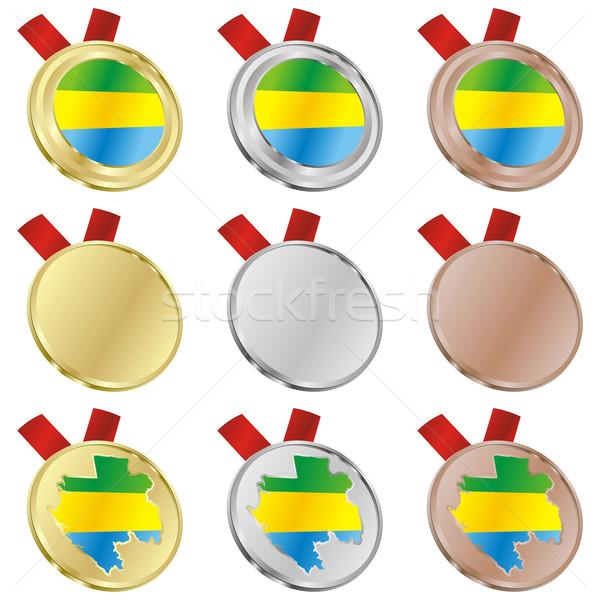 Gabão vetor bandeira medalha formas Foto stock © PilgrimArtworks