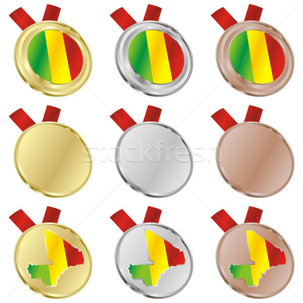 mali vector flag in medal shapes Stock photo © PilgrimArtworks