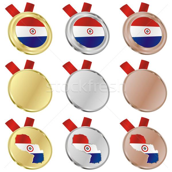 paraguay vector flag in medal shapes Stock photo © PilgrimArtworks
