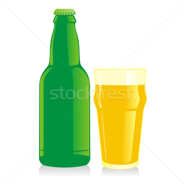 isolated bottle and glass blonde beer Stock photo © PilgrimArtworks