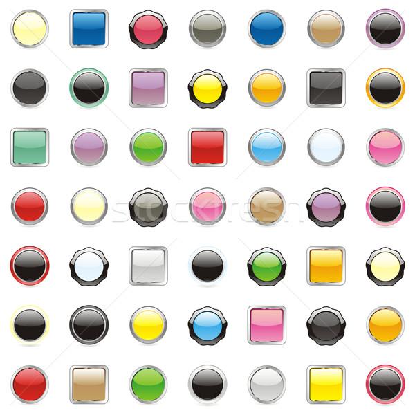 Сток-фото: изолированный · веб · Кнопки · вектора · оранжевый