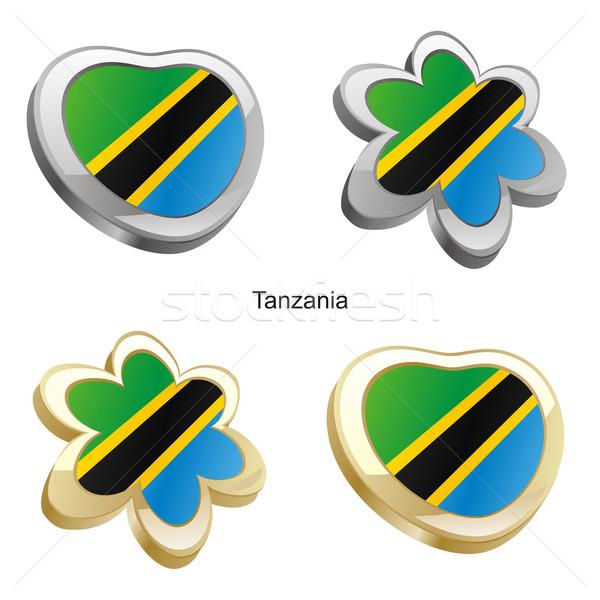 Tanzanya bayrak kalp çiçek biçim düzenlenebilir Stok fotoğraf © PilgrimArtworks