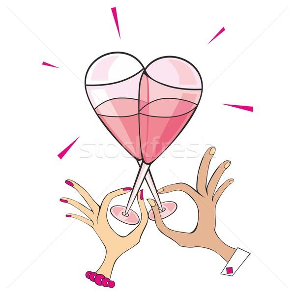 シャンパン 眼鏡 心臓の形態 2 女性 ストックフォト © PilgrimArtworks