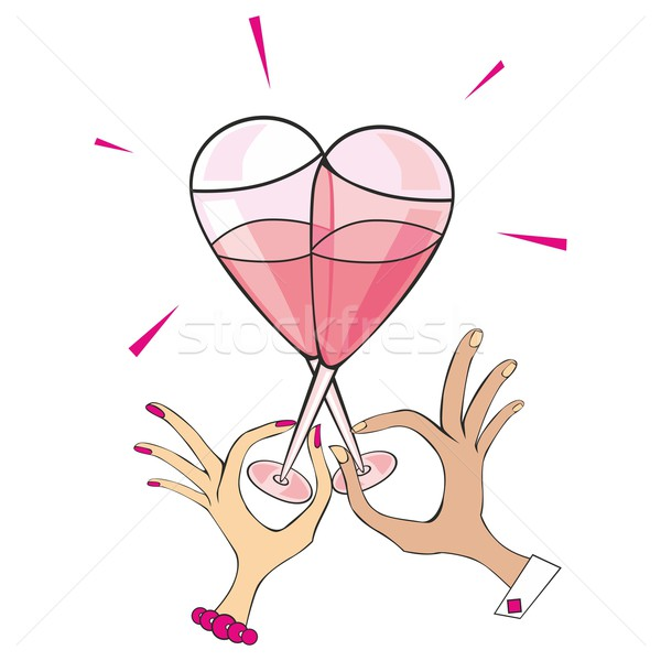 Champagne bril hartvorm twee vrouw Stockfoto © PilgrimArtworks