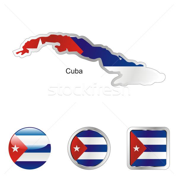 Куба карта веб Кнопки Сток-фото © PilgrimArtworks