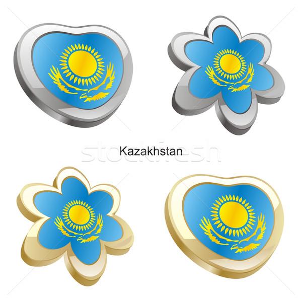 Cazaquistão bandeira coração flor forma Foto stock © PilgrimArtworks