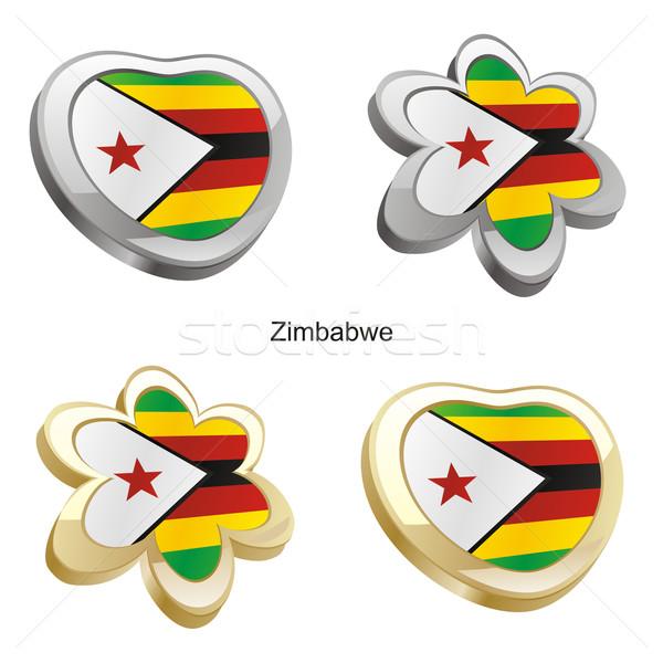 Zimbabwe vlag hart bloem vorm Stockfoto © PilgrimArtworks