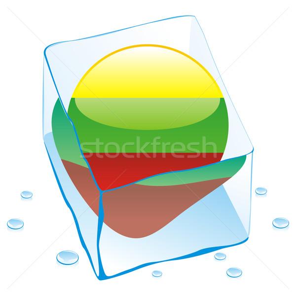 Photo stock: Lituanie · bouton · pavillon · congelés · glaçon