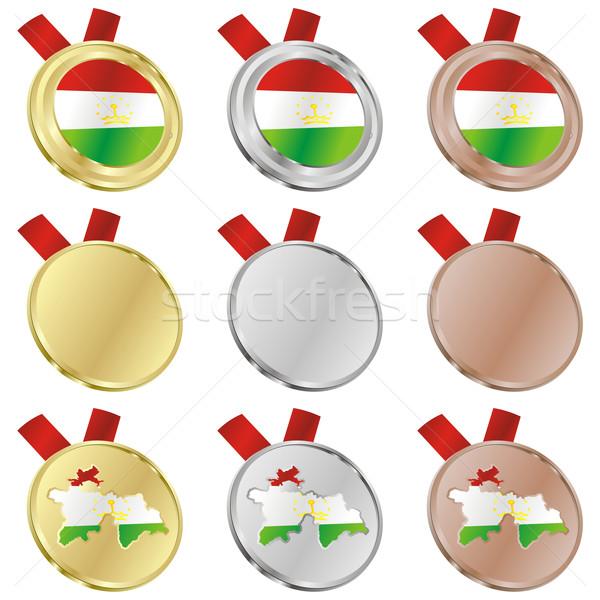 tajikistan vector flag in medal shapes Stock photo © PilgrimArtworks