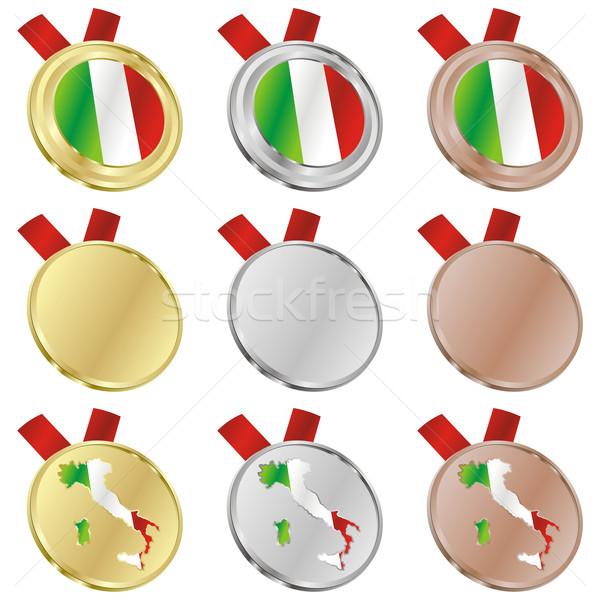Italie vecteur pavillon médaille Photo stock © PilgrimArtworks