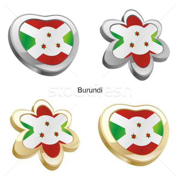 Burundi bandeira coração flor forma Foto stock © PilgrimArtworks