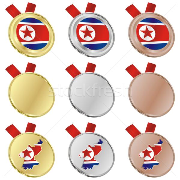 north korea vector flag in medal shapes Stock photo © PilgrimArtworks