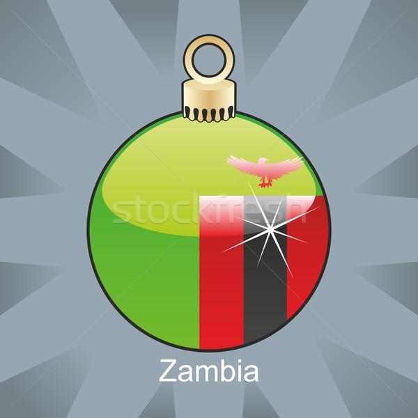 Yalıtılmış Zambiya bayrak Noel ampul biçim Stok fotoğraf © PilgrimArtworks