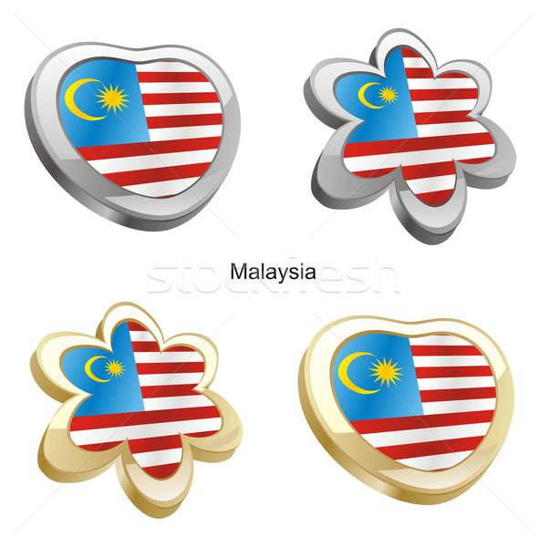 Malásia bandeira coração flor forma Foto stock © PilgrimArtworks