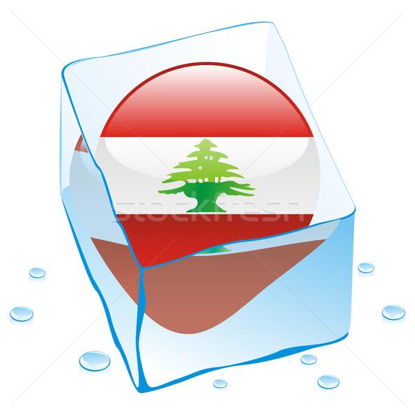 Libanon gomb zászló fagyott jégkocka szerkeszthető Stock fotó © PilgrimArtworks