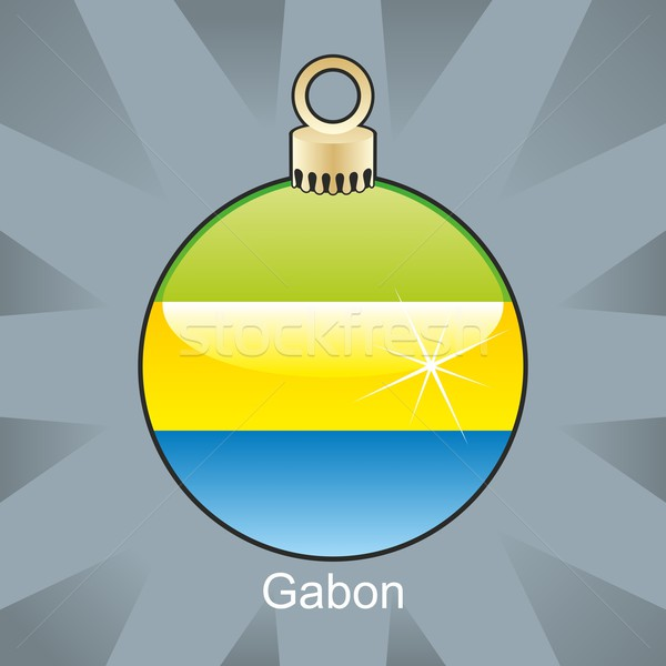 Stockfoto: Geïsoleerd · Gabon · vlag · christmas · lamp · vorm