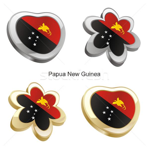 Papoea-Nieuw-Guinea vlag hart bloem vorm Stockfoto © PilgrimArtworks
