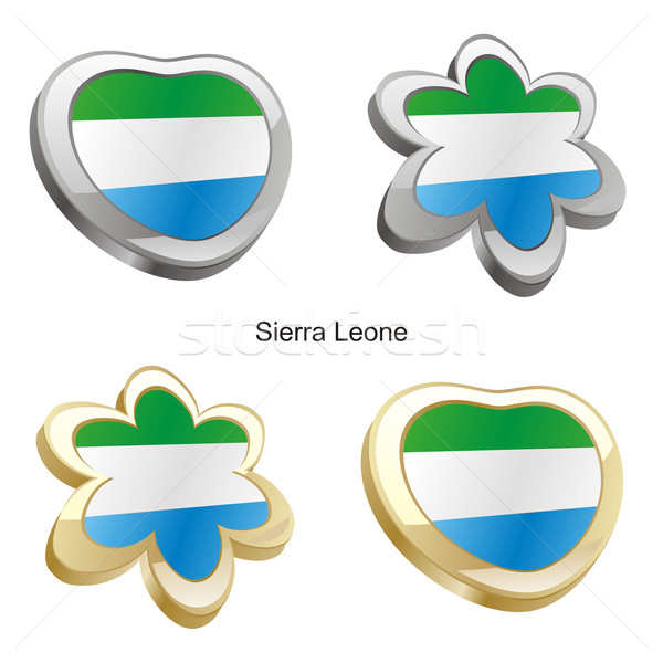 sierra leone flag in heart and flower shape Stock photo © PilgrimArtworks