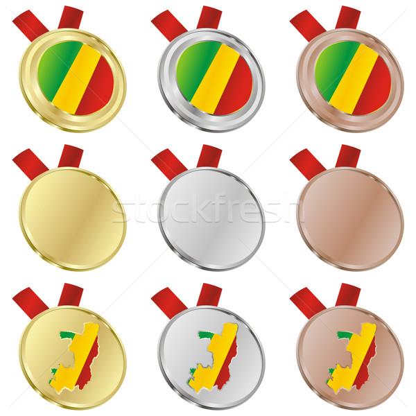 Kongó vektor zászló érem formák szerkeszthető Stock fotó © PilgrimArtworks